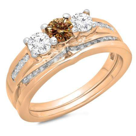 1.10 Carat (ctw) 14K Rose Gold Round Champagne & White Diamond Ladies Bridal 3 Stone Engagement Ring With Matching Band Set 1 CT