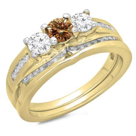 1.10 Carat (ctw) 18K Yellow Gold Round Champagne & White Diamond Ladies Bridal 3 Stone Engagement Ring With Matching Band Set 1 CT