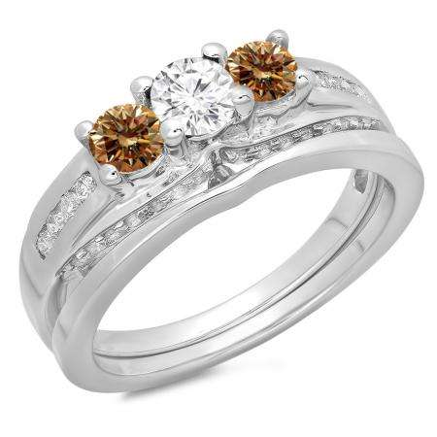 1.10 Carat (ctw) 14K White Gold Round Champagne & White Diamond Ladies Bridal 3 Stone Engagement Ring With Matching Band Set 1 CT
