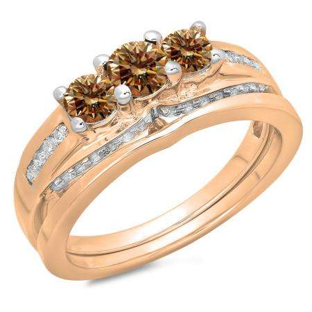 1.10 Carat (ctw) 10K Rose Gold Round Champagne & White Diamond Ladies Bridal 3 Stone Engagement Ring With Matching Band Set 1 CT