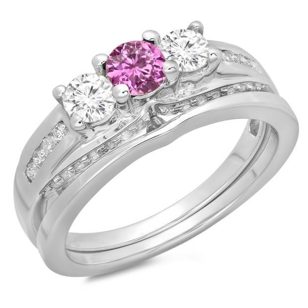 1.10 Carat (ctw) 10K White Gold Round Pink Sapphire & White Diamond Ladies Bridal 3 Stone Engagement Ring With Matching Band Set 1 CT
