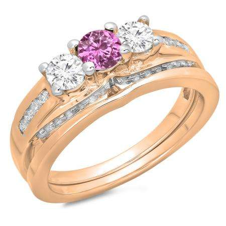 1.10 Carat (ctw) 14K Rose Gold Round Pink Sapphire & White Diamond Ladies Bridal 3 Stone Engagement Ring With Matching Band Set 1 CT