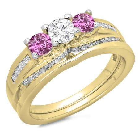 1.10 Carat (ctw) 10K Yellow Gold Round Pink Sapphire & White Diamond Ladies Bridal 3 Stone Engagement Ring With Matching Band Set 1 CT