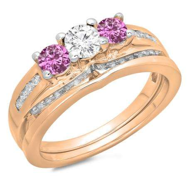1.10 Carat (ctw) 18K Rose Gold Round Pink Sapphire & White Diamond Ladies Bridal 3 Stone Engagement Ring With Matching Band Set 1 CT