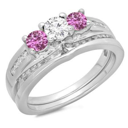 1.10 Carat (ctw) 18K White Gold Round Pink Sapphire & White Diamond Ladies Bridal 3 Stone Engagement Ring With Matching Band Set 1 CT