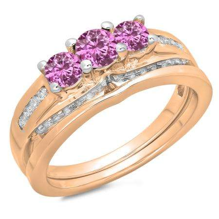 1.10 Carat (ctw) 18K Rose Gold Round Pink Sapphire & White Diamond Ladies Bridal 3 Stone Engagement Ring With Matching Band Set 1 CT