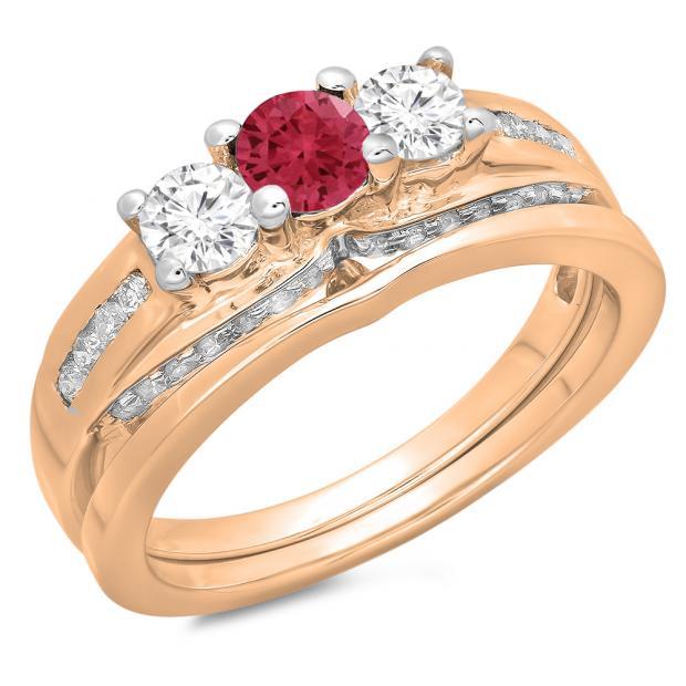 1.10 Carat (ctw) 14K Rose Gold Round Red Ruby & White Diamond Ladies Bridal 3 Stone Engagement Ring With Matching Band Set 1 CT