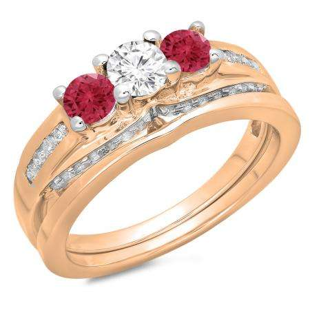 1.10 Carat (ctw) 14K Rose Gold Round Red Ruby & White Diamond Ladies Bridal 3 Stone Engagement Ring With Matching Band Set 1 CT