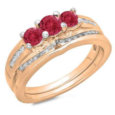 1.10 Carat (ctw) 18K Rose Gold Round Red Ruby & White Diamond Ladies Bridal 3 Stone Engagement Ring With Matching Band Set 1 CT