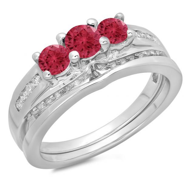 1.10 Carat (ctw) 18K White Gold Round Red Ruby & White Diamond Ladies Bridal 3 Stone Engagement Ring With Matching Band Set 1 CT