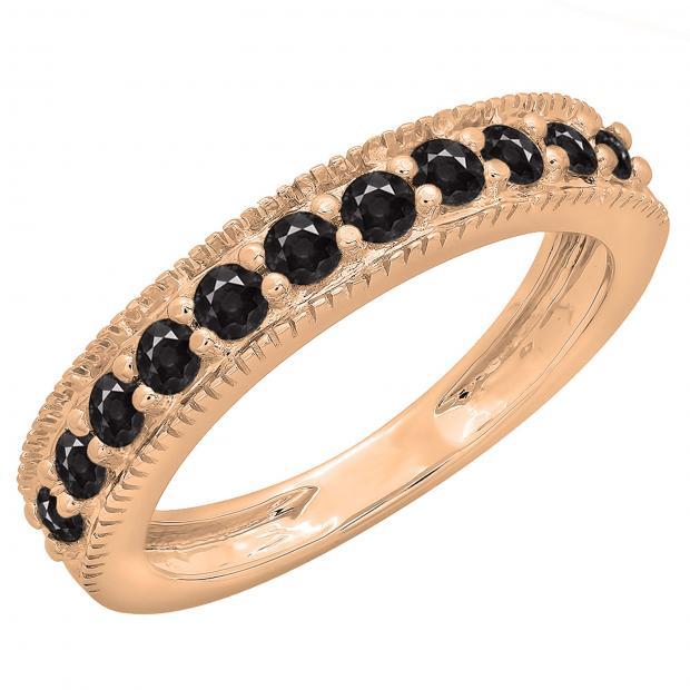 0.50 Carat (ctw) 10K Rose Gold Round Cut Black Diamond Ladies Millgrain Anniversary Wedding Stackable Band 1/2 CT