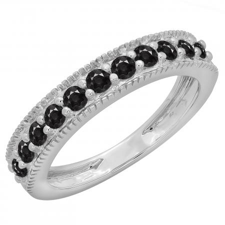 0.50 Carat (ctw) 14K White Gold Round Cut Black Diamond Ladies Millgrain Anniversary Wedding Stackable Band 1/2 CT