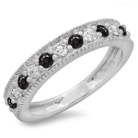 0.50 Carat (ctw) 18K White Gold Round Cut Black & White Diamond Ladies Millgrain Anniversary Wedding Stackable Band 1/2 CT