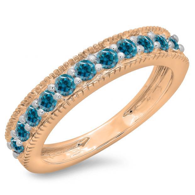 0.50 Carat (ctw) 10K Rose Gold Round Cut Blue Diamond Ladies Millgrain Anniversary Wedding Stackable Band 1/2 CT