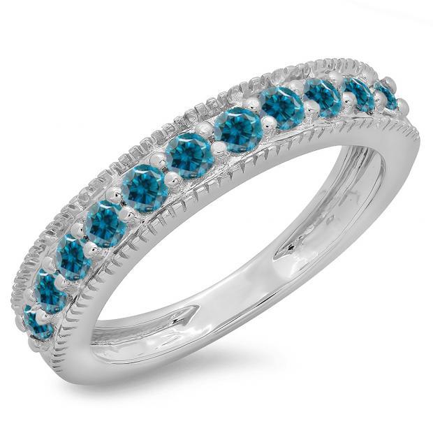 0.50 Carat (ctw) 14K White Gold Round Cut Blue Diamond Ladies Millgrain Anniversary Wedding Stackable Band 1/2 CT