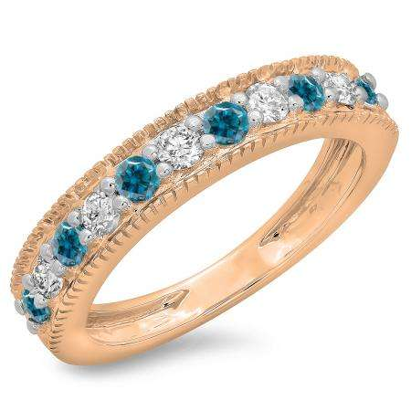 0.50 Carat (ctw) 10K Rose Gold Round Cut Blue & White Diamond Ladies Millgrain Anniversary Wedding Stackable Band 1/2 CT