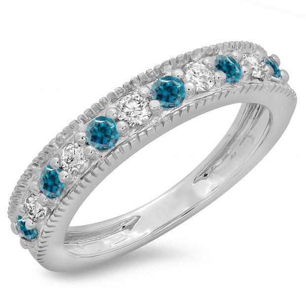 0.50 Carat (ctw) 14K White Gold Round Cut Blue & White Diamond Ladies Millgrain Anniversary Wedding Stackable Band 1/2 CT