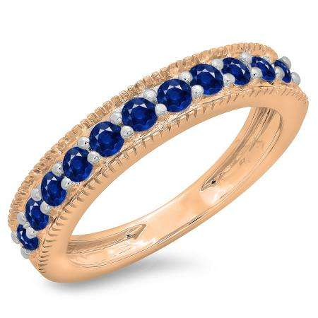 0.50 Carat (ctw) 10K Rose Gold Round Cut Blue Sapphire Ladies Millgrain Anniversary Wedding Stackable Band 1/2 CT
