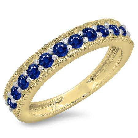0.50 Carat (ctw) 10K Yellow Gold Round Cut Blue Sapphire Ladies Millgrain Anniversary Wedding Stackable Band 1/2 CT