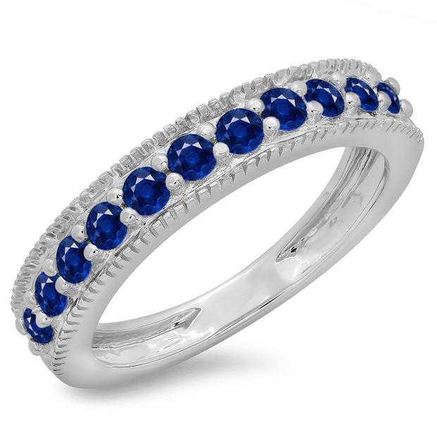0.50 Carat (ctw) 18K White Gold Round Cut Blue Sapphire Ladies Millgrain Anniversary Wedding Stackable Band 1/2 CT