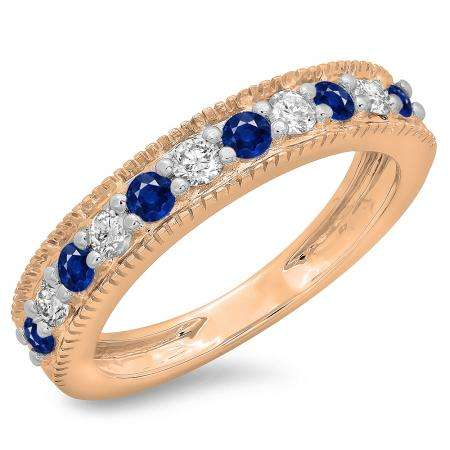 0.50 Carat (ctw) 10K Rose Gold Round Cut Blue Sapphire & White Diamond Ladies Millgrain Anniversary Wedding Stackable Band 1/2 CT