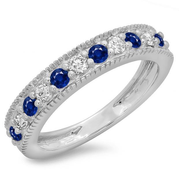 0.50 Carat (ctw) 18K White Gold Round Cut Blue Sapphire & White Diamond Ladies Millgrain Anniversary Wedding Stackable Band 1/2 CT