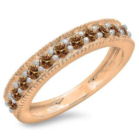 0.50 Carat (ctw) 10K Rose Gold Round Cut Champagne Diamond Ladies Millgrain Anniversary Wedding Stackable Band 1/2 CT