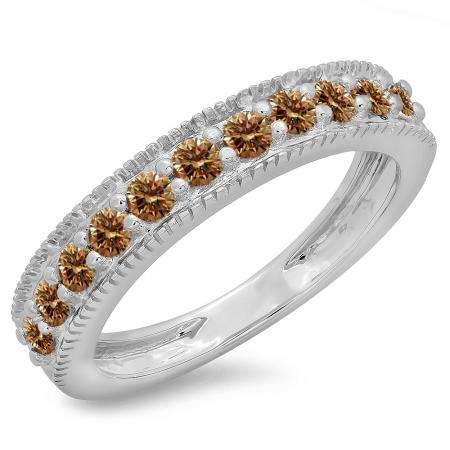 0.50 Carat (ctw) 10K White Gold Round Cut Champagne Diamond Ladies Millgrain Anniversary Wedding Stackable Band 1/2 CT