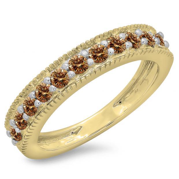 0.50 Carat (ctw) 14K Yellow Gold Round Cut Champagne Diamond Ladies Millgrain Anniversary Wedding Stackable Band 1/2 CT
