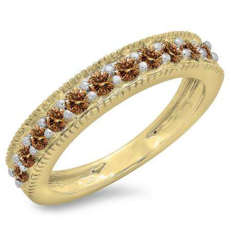0.50 Carat (ctw) 18K Yellow Gold Round Cut Champagne Diamond Ladies Millgrain Anniversary Wedding Stackable Band 1/2 CT