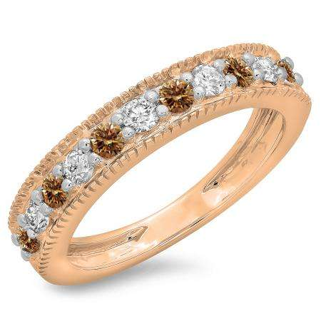 0.50 Carat (ctw) 10K Rose Gold Round Cut Champagne & White Diamond Ladies Millgrain Anniversary Wedding Stackable Band 1/2 CT