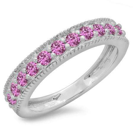 0.50 Carat (ctw) 10K White Gold Round Cut Pink Sapphire Ladies Millgrain Anniversary Wedding Stackable Band 1/2 CT