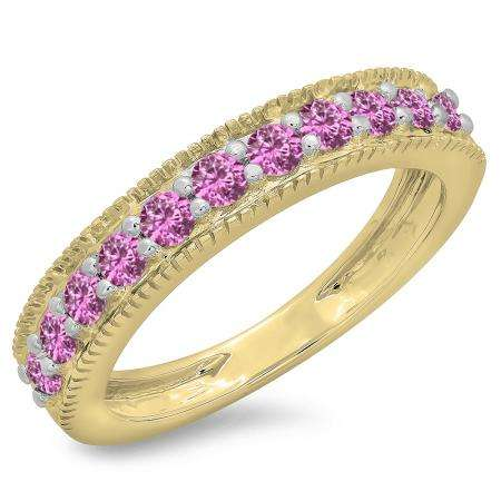 0.50 Carat (ctw) 18K Yellow Gold Round Cut Pink Sapphire Ladies Millgrain Anniversary Wedding Stackable Band 1/2 CT