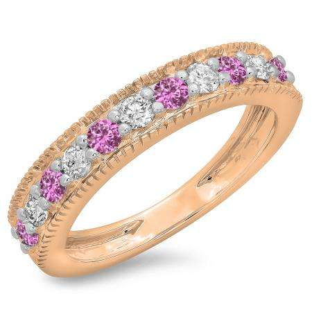 0.50 Carat (ctw) 14K Rose Gold Round Cut Pink Sapphire & White Diamond Ladies Millgrain Anniversary Wedding Stackable Band 1/2 CT