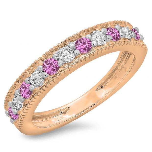 0.50 Carat (ctw) 18K Rose Gold Round Cut Pink Sapphire & White Diamond Ladies Millgrain Anniversary Wedding Stackable Band 1/2 CT