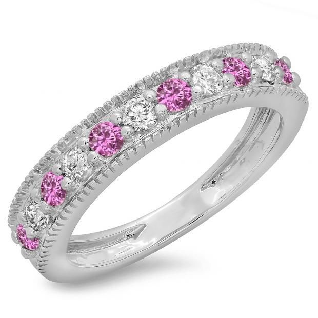 0.50 Carat (ctw) 18K White Gold Round Cut Pink Sapphire & White Diamond Ladies Millgrain Anniversary Wedding Stackable Band 1/2 CT