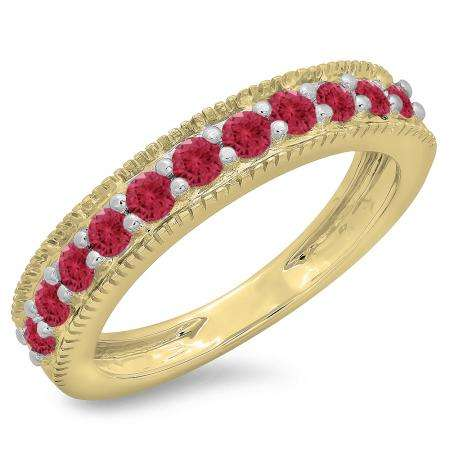 0.50 Carat (ctw) 10K Yellow Gold Round Cut Red Ruby Ladies Millgrain Anniversary Wedding Stackable Band 1/2 CT