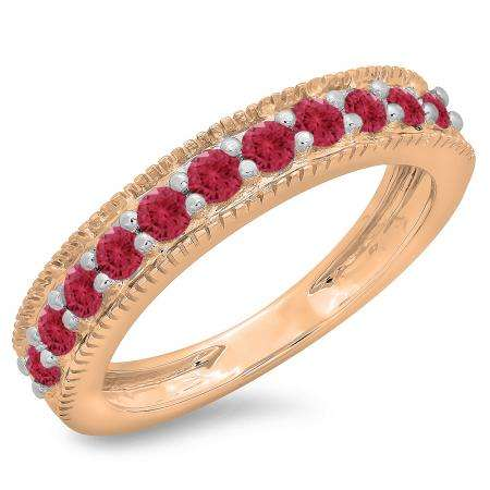 0.50 Carat (ctw) 14K Rose Gold Round Cut Red Ruby Ladies Millgrain Anniversary Wedding Stackable Band 1/2 CT