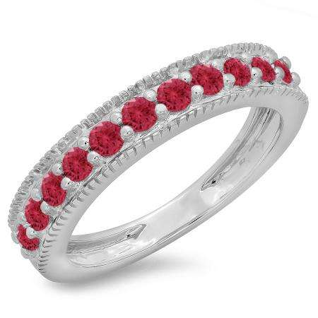 0.50 Carat (ctw) 18K White Gold Round Cut Red Ruby Ladies Millgrain Anniversary Wedding Stackable Band 1/2 CT