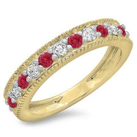 0.50 Carat (ctw) 10K Yellow Gold Round Cut Red Ruby & White Diamond Ladies Millgrain Anniversary Wedding Stackable Band 1/2 CT