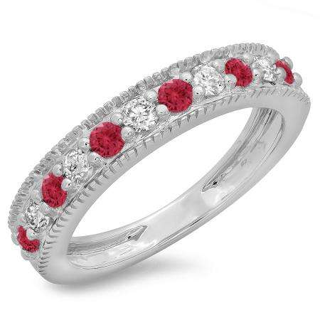 0.50 Carat (ctw) 18K White Gold Round Cut Red Ruby & White Diamond Ladies Millgrain Anniversary Wedding Stackable Band 1/2 CT