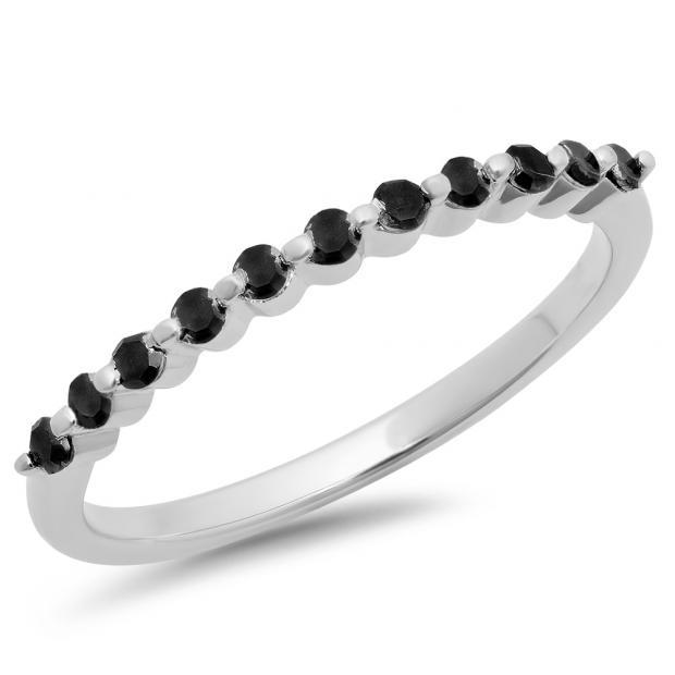 0.25 Carat (ctw) 14K White Gold Round Black Diamond Ladies 11 Stone Anniversary Wedding Stackable Band 1/4 CT