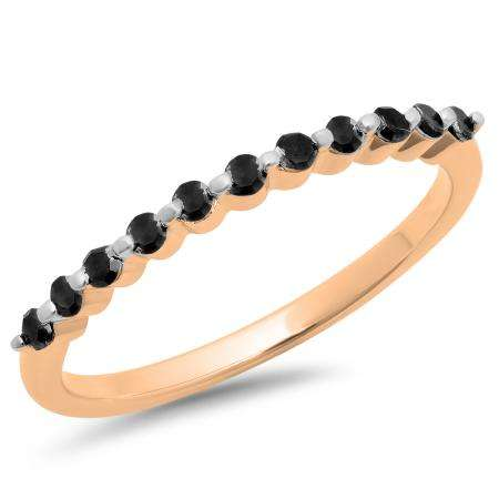 0.25 Carat (ctw) 18K Rose Gold Round Black Diamond Ladies 11 Stone Anniversary Wedding Stackable Band 1/4 CT