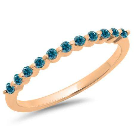 0.25 Carat (ctw) 10K Rose Gold Round Blue Diamond Ladies 11 Stone Anniversary Wedding Stackable Band 1/4 CT