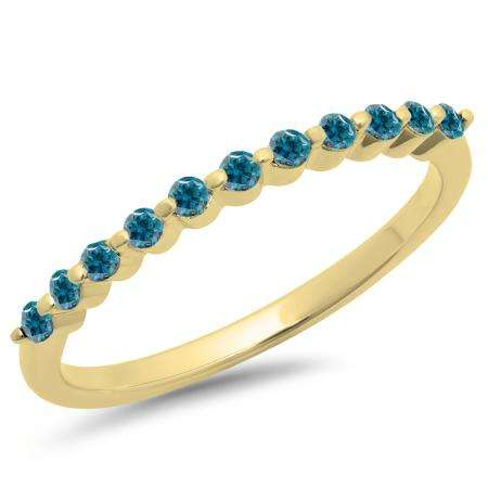 0.25 Carat (ctw) 14K Yellow Gold Round Blue Diamond Ladies 11 Stone Anniversary Wedding Stackable Band 1/4 CT