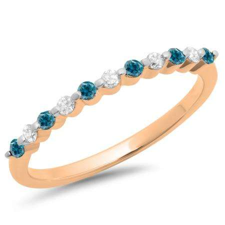 0.25 Carat (ctw) 10K Rose Gold Round Blue & White Diamond Ladies 11 Stone Anniversary Wedding Stackable Band 1/4 CT