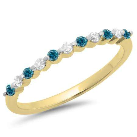 0.25 Carat (ctw) 10K Yellow Gold Round Blue & White Diamond Ladies 11 Stone Anniversary Wedding Stackable Band 1/4 CT