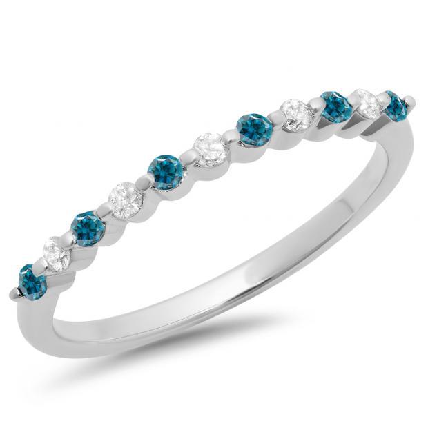 0.25 Carat (ctw) 18K White Gold Round Blue & White Diamond Ladies 11 Stone Anniversary Wedding Stackable Band 1/4 CT