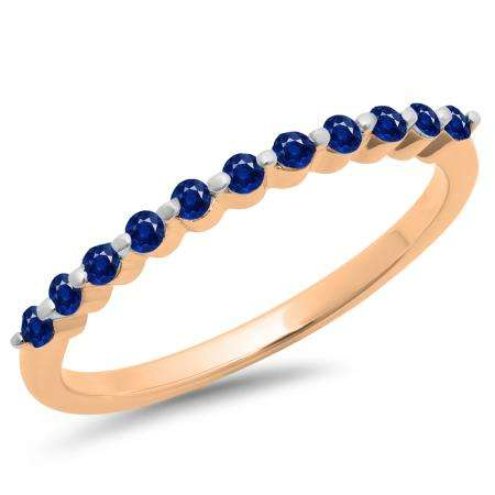 0.25 Carat (ctw) 10K Rose Gold Round Blue Sapphire Ladies 11 Stone Anniversary Wedding Stackable Band 1/4 CT