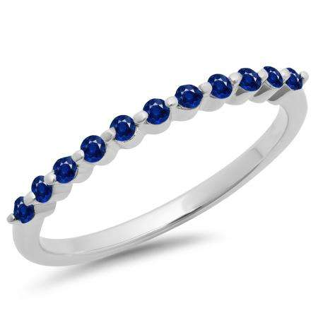 0.25 Carat (ctw) 14K White Gold Round Blue Sapphire Ladies 11 Stone Anniversary Wedding Stackable Band 1/4 CT